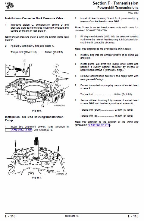 JCB 412S, 414S, 416S Wheeled Loader Shovel Service Manual