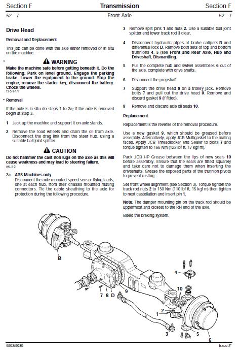 JCB 3170, 3190, 3200, 3220, 3230 Fastrac Service Manual