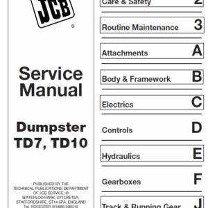 Jcb Td7, Td10 Dumpster Service Manual