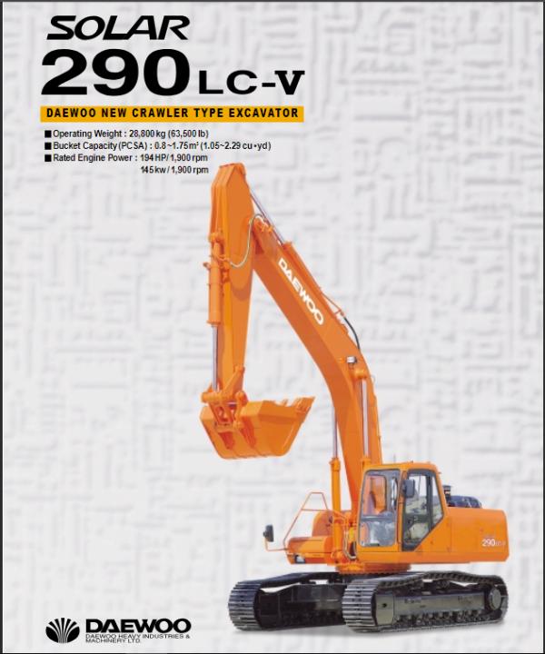 Doosan Daewoo Solar S290lc-v Excavator Service Manual
