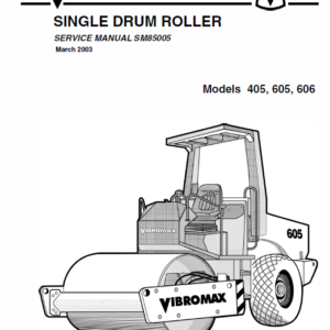 JCB Vibromax 405,605,606 Single Drum Roller Service Manual