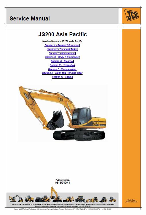 JCB JS200, JS210 and JS220 Excavator Asia Pacific Service Manual
