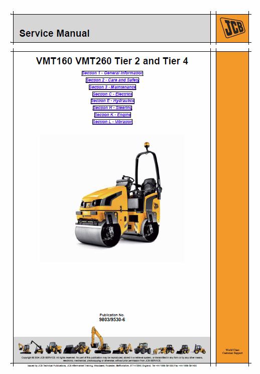 Jcb Vibromax Vmt160, Vmt260 Tier 2 And Tier 4 Serv