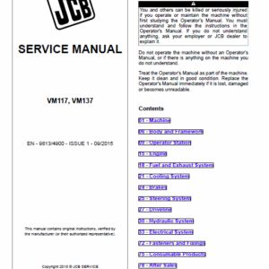 Jcb Vibromax Vm117, Vm137 Tier 2 Service Manual