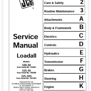 Jcb 520-50, 525-50 Year 1996 – 2012 Loadall Service Manual