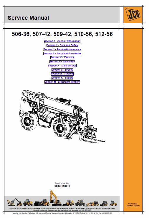JCB 506-36, 507-42, 509-42, 510-56, 512-56, 514-56, 516-42 Loadall Service Manual