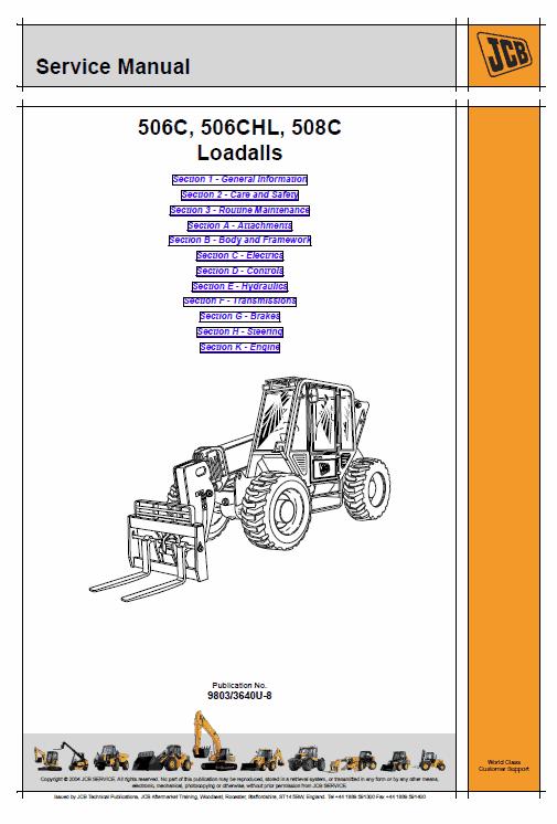 Jcb 506c, 506chl, 508c Loadall Telescopic Handlers Service Manual