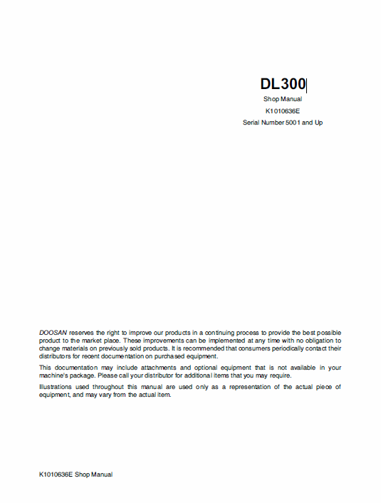 Doosan Daewoo DL300 Wheeled Loader Service Manual
