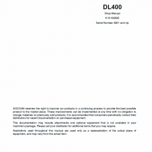 Doosan Daewoo DL400 Wheeled Loader Service Manual