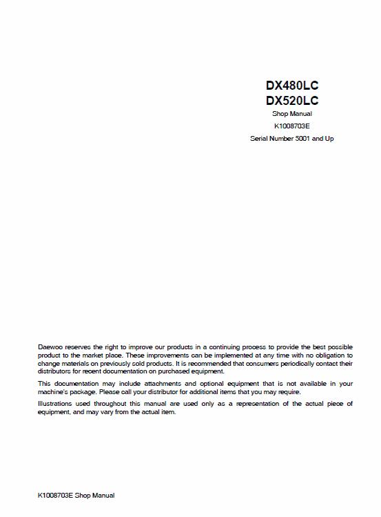 Doosan Daewoo Dx480lc, Dx520lc Excavator Service Manual