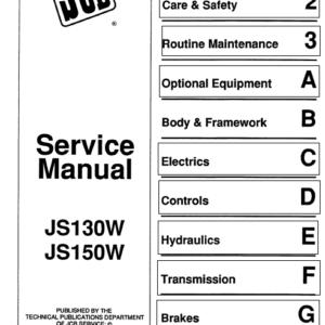 Jcb Js130w, Js150w Wheeled Excavator Service Manual (1993 – 1997)