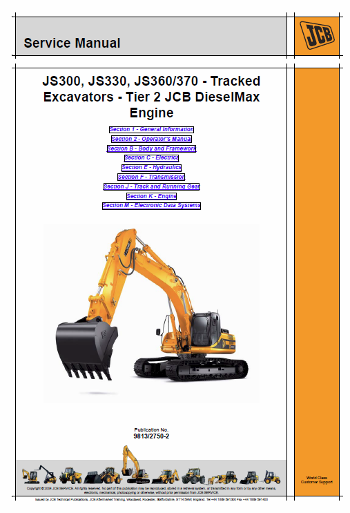 Jcb Js300, Js330, Js360, Js370 Excavator Tier 2 Diesel Engine Service Manual