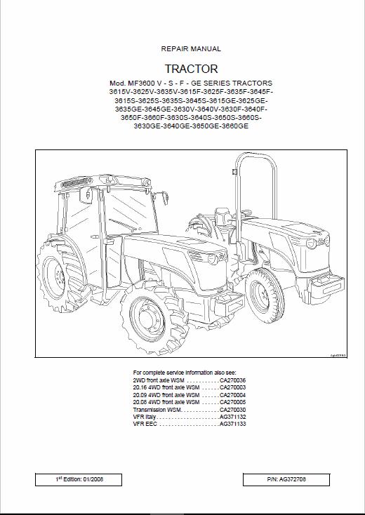 Massey Ferguson Mf3600 V – S – F – Ge Series Tractors Workshop Manual