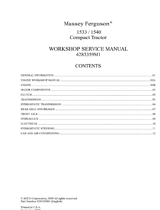 Massey Ferguson 1533, 1540, 1547, 1552, 1560 Tractors Service Workshop Manual