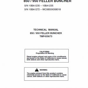John Deere 850, 950 Feller Buncher Technical Manual
