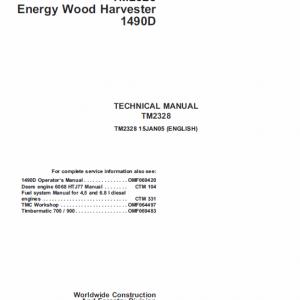 John Deere 1490D Harvester Technical Manual TM-2238