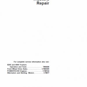 John Deere 6205, 6505 Tractor Service Manual Tm-4612