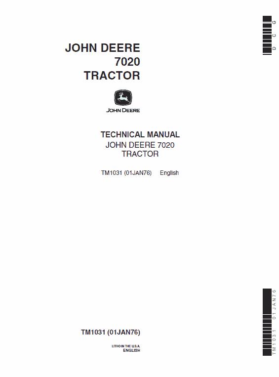 John Deere 7020 Tractor Service Manual Tm-1031