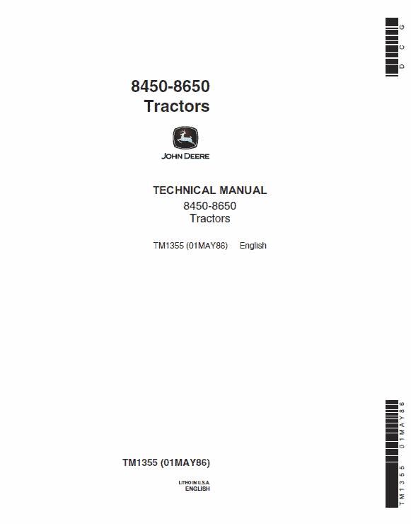 John Deere 8450, 8650 Tractor Service Manual Tm-1355