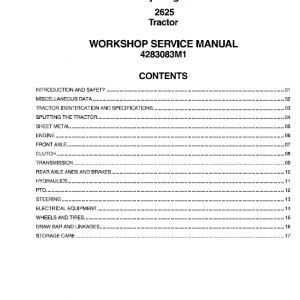 Massey Ferguson 2625 Tractors Service Workshop Manual