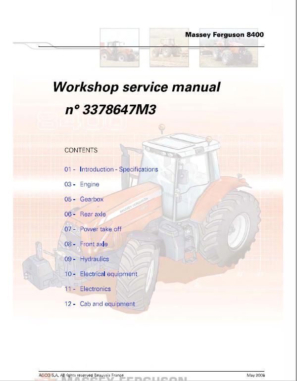 Massey Ferguson 8450, 8460, 8470, 8480 Tractor Service Manual