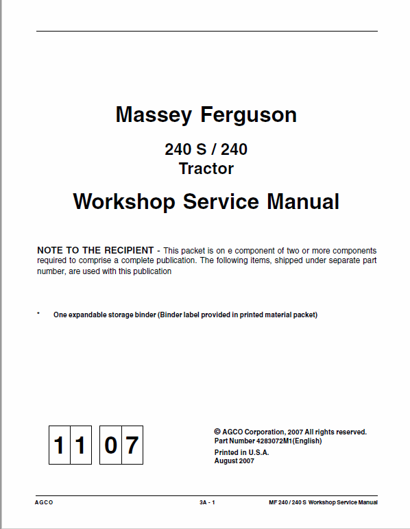 Massey Ferguson Mf 240, 240s Tractor Service Manual