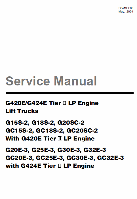 Doosan Daewoo G420E, G424E Tier 2 LP Engine Forklift Service Manual