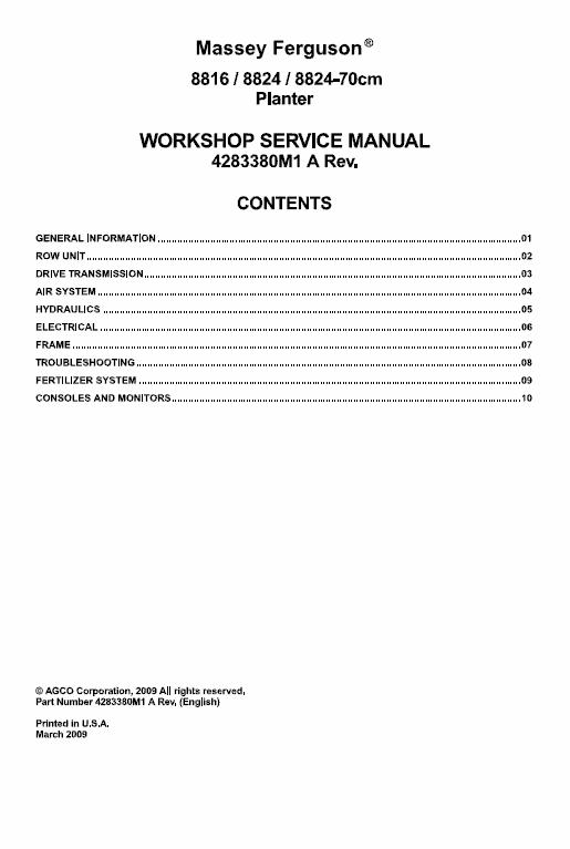 Massey Ferguson 8816, 8824 Planter Service Manual