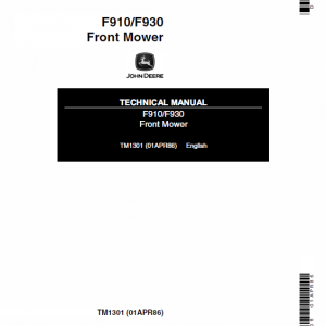 John Deere F910, F930 Front Mower Technical Manual TM-1301