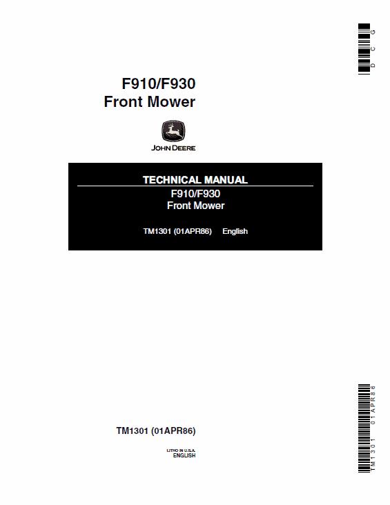 John Deere F910, F930 Front Mower Service Manual Tm-1301