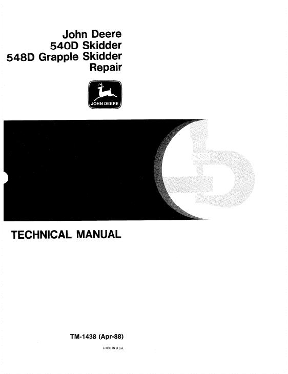 John Deere 540D, 548D Skidder Service Manual