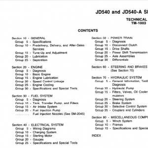 John Deere 540, 540a Skidders Service Manual Tm-1003