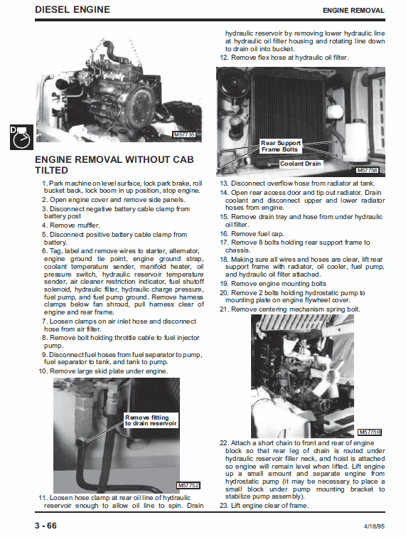 John Deere 4475, 5575, 6675, 7775 Skid-steer Loader Service Manual