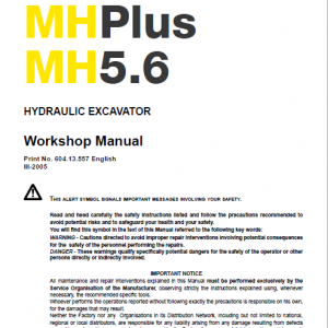 New Holland Mh5.6, Mh City And Mh Plus Excavator Manual