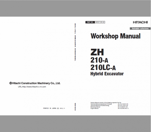 Hitachi ZH 210-A and 210LC-A Excavator Service Manual