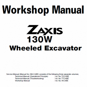 Hitachi Zaxis Zx130w Wheeled Excavator Service Manual