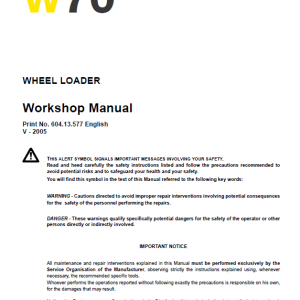 New Holland W80 Wheeled Loader Service Manual
