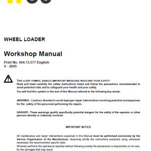 New Holland W60 Wheeled Loader Service Manual