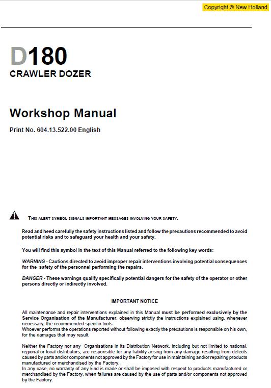 New Holland D180 Bulldozer Dozer Service Manual