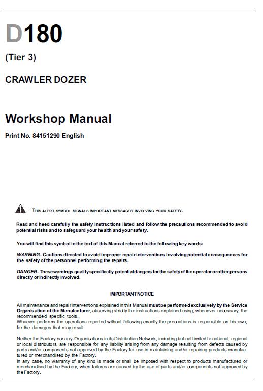 New Holland D180 Tier 2 & Tier 3 Crawler Dozer Service Manual