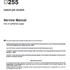 New Holland D255 Bulldozer Dozer Service Manual