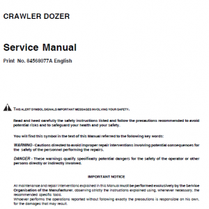 New Holland D350 Bulldozer Dozer Service Manual