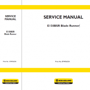 New Holland E150bsr Blade Runner Excavator Service Manual