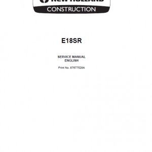 New Holland E18SR Mini Excavator Service Manual