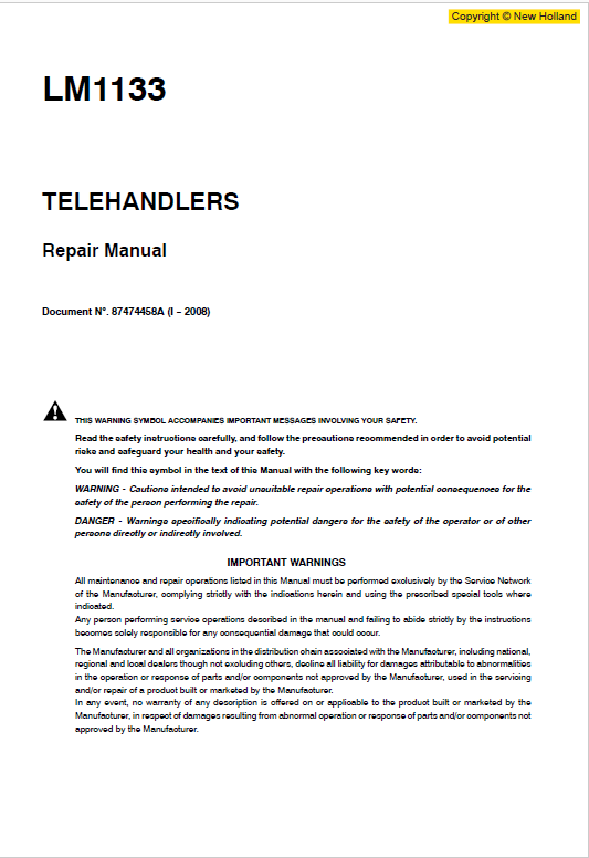 New Holland Lm1133 Telehandlers Service Manual
