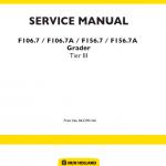 New Holland F106.7, F106.7A, F156.7, F156.7A Grader Service Manual