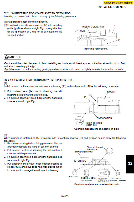 New Holland E225bsr Tier 3 Excavator Service Manual