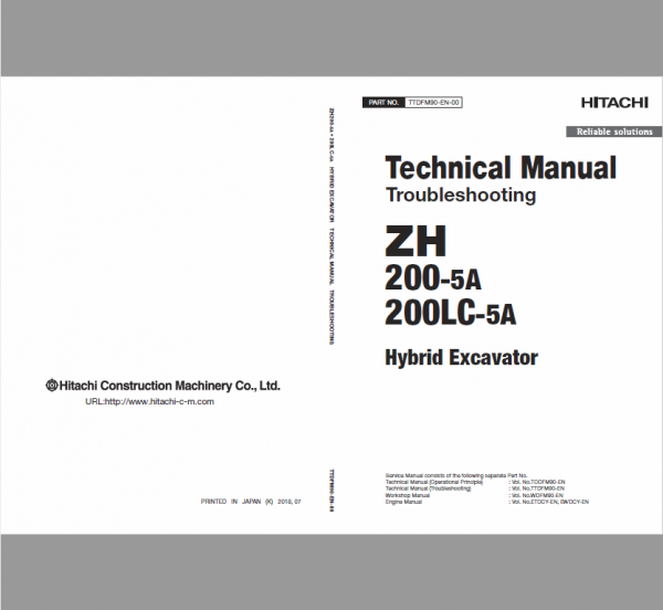 Hitachi Zh200-5a And Zh200lc-5a Excavator Service Manual