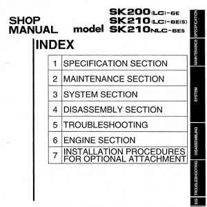 Kobelco SK200LC-6E and SK210LC-6E Excavator Service Manual