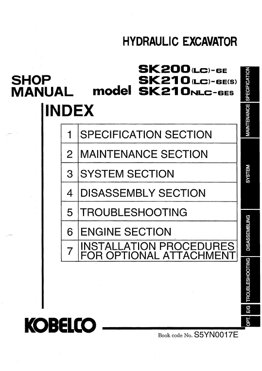 Kobelco Sk200lc-6e And Sk210lc-6e Excavator Service Manual